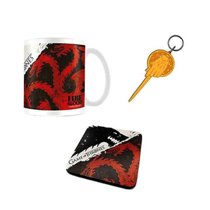 Game of Thrones Stark & Targaryen Mug Coaster & Keyring Set