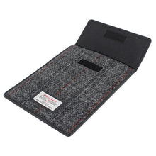 Load image into Gallery viewer, Harris Tweed Black & Grey Tartan iPad Mini Sleeve