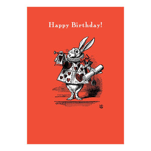 "Alice in Wonderland ""Happy Birthday!"" Rabbit Herald Greeting Card"