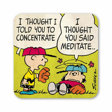 "Load image into Gallery viewer, Peanuts Charlie Brown & Lucy ""Concentrate"" Single Coaster"