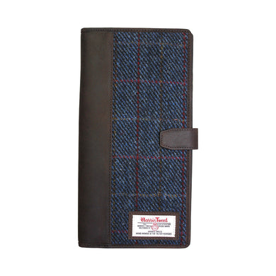 Travel Documents Holder with Harris Tweed Dark Blue Allasdale Tartan
