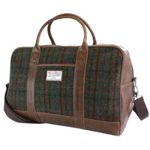 Load image into Gallery viewer, Harris Tweed Green & Red Tartan Overnight Bag