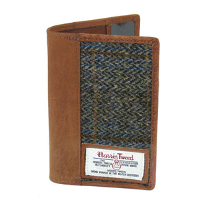 Passport Holder with Harris Tweed Beige & Blue Carloway Tartan