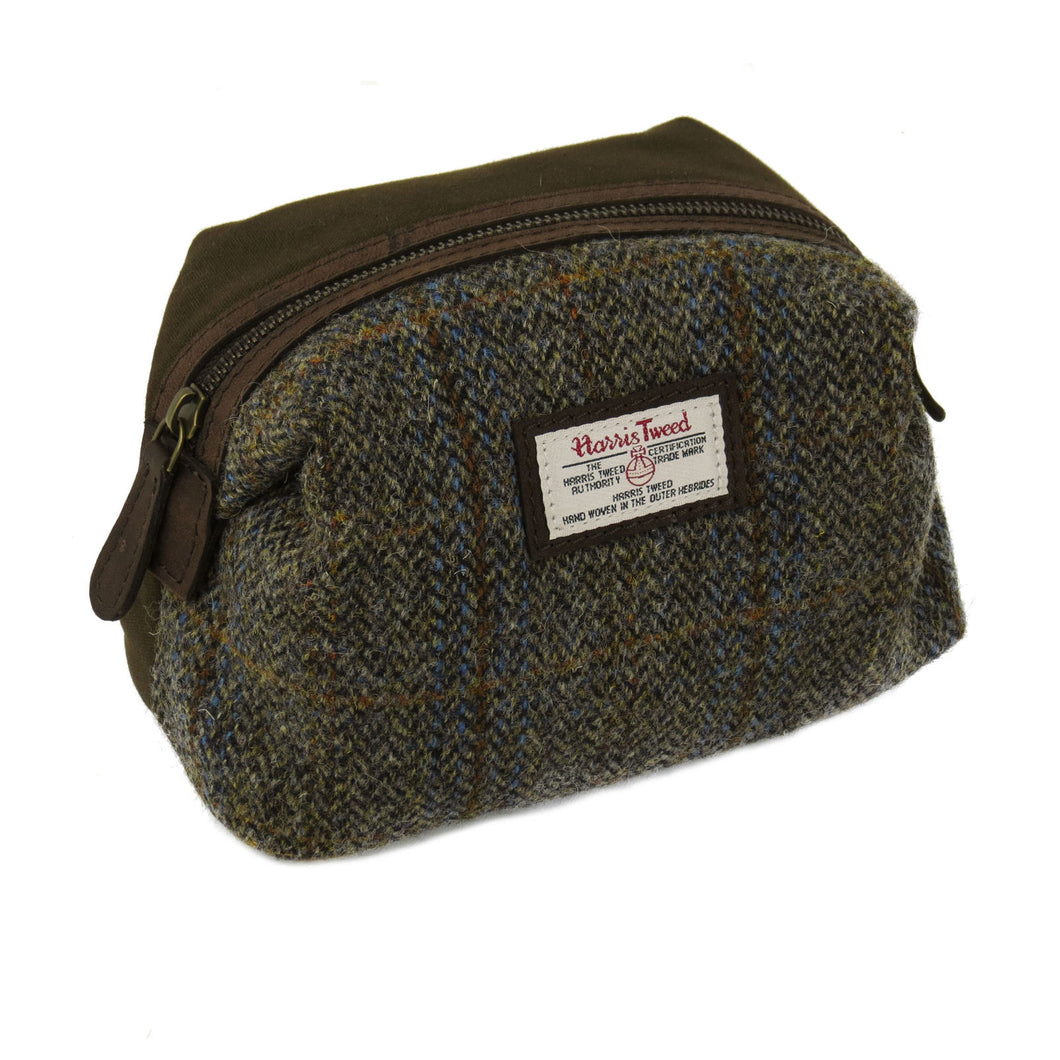 Harris Tweed Beige & Blue Carloway Tartan Makeup Bag