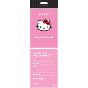 Pack of 8 Hello Kitty Party Invitation Cards & Envelopes
