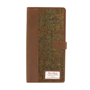 Travel Documents Holder with Harris Tweed Olive & Tan Tartan