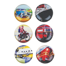 Load image into Gallery viewer, Set Of 6 Vintage Transport Glass Magnets