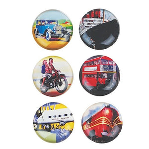Set Of 6 Vintage Transport Glass Magnets