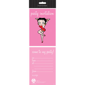 Pack of 8 Betty Boop Party Invitation Cards & Envelopes
