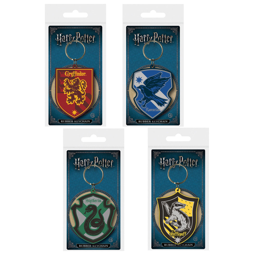 Bundle of 4 Harry Potter House Crests PVC Keyrings