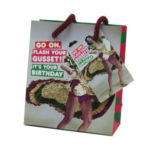 Go On, Flash Your Gusset! It's Your Birthday Small Gift Bag & Tag