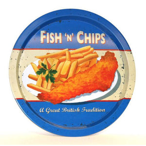 Fish And Chips Round Tin Tray