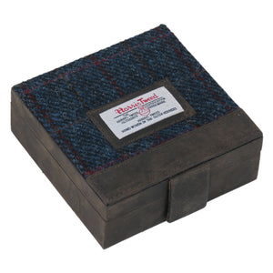 Harris Tweed Dark Blue Allasdale Tartan Trinket Box