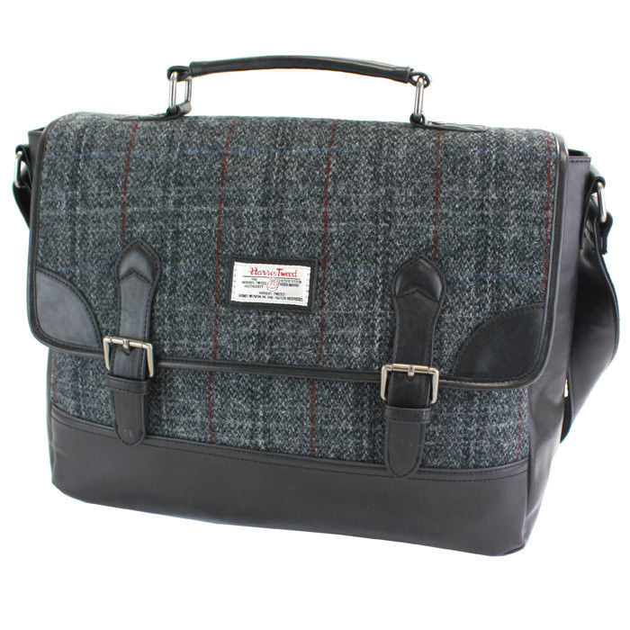 Harris Tweed Black & Grey Tartan Briefcase