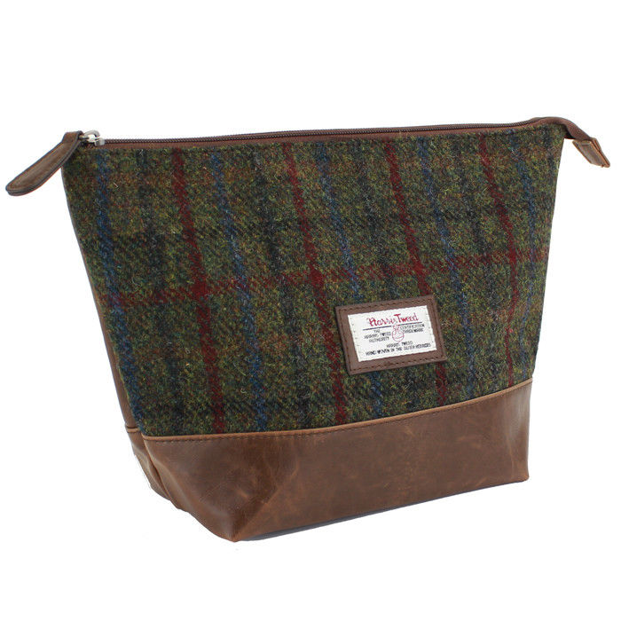 Harris Tweed Green & Red Tartan Wash Bag