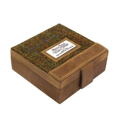 Harris Tweed Olive & Tan Stornoway Tartan Trinket Box