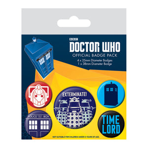 Doctor Who Exterminate Badge Set