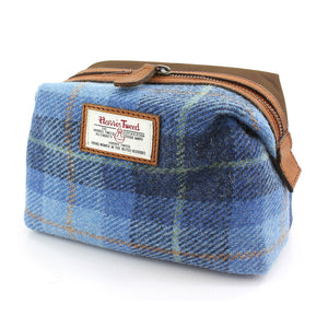 Harris Tweed Pale Blue Castle Bay Tartan Makeup Bag
