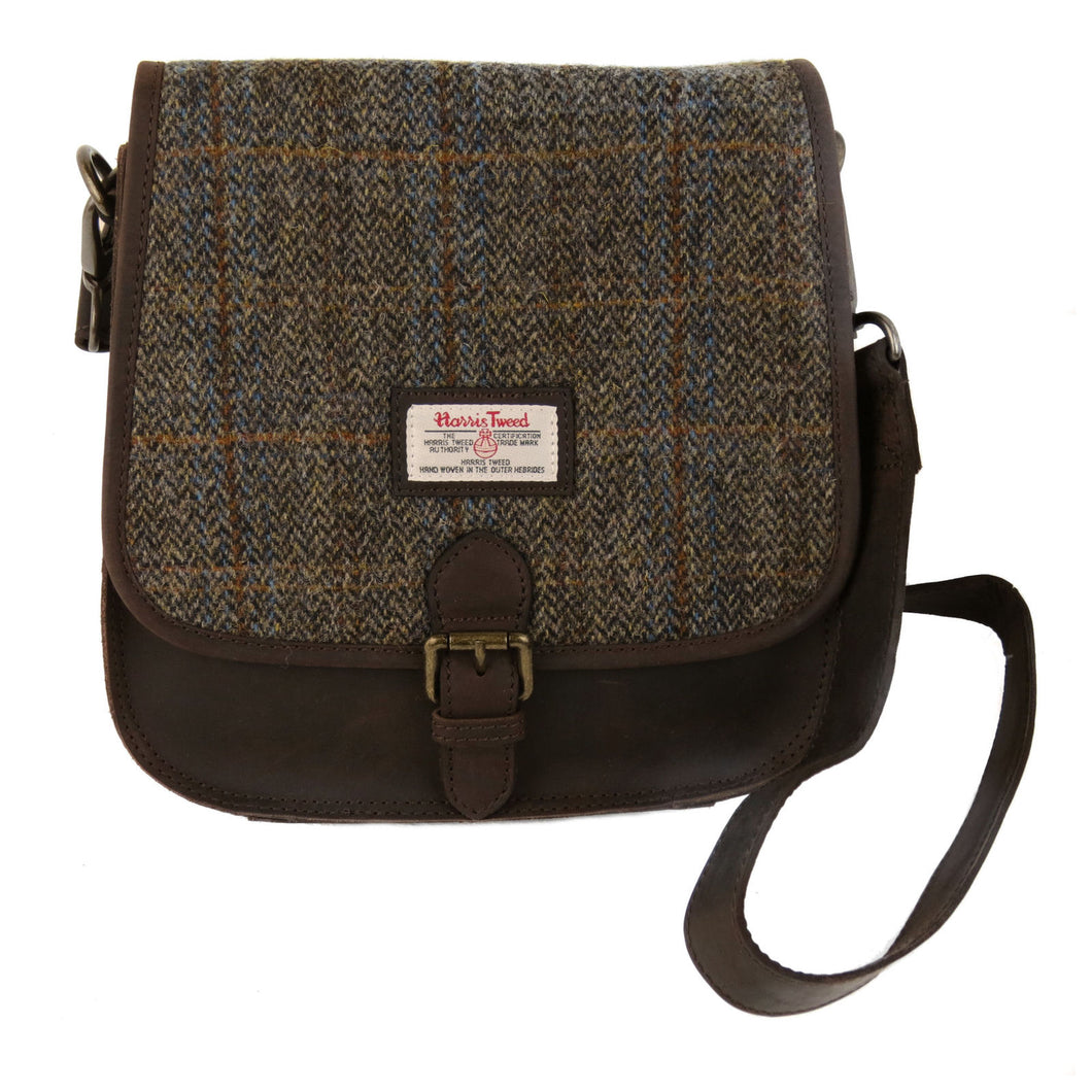 Harris Tweed Beige & Blue Carloway Tartan Saddle Bag