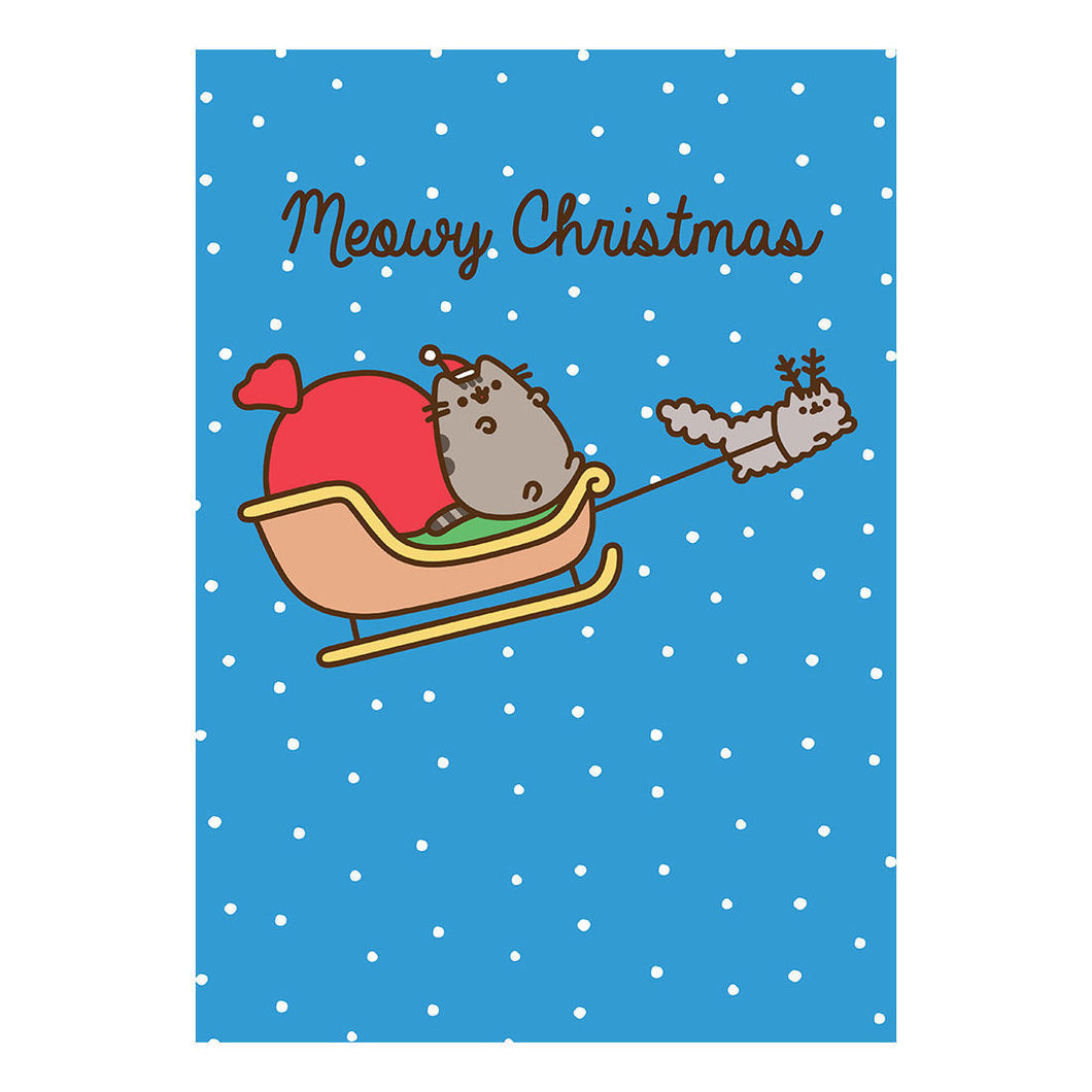 Pusheen Meowy Christmas Sleigh Greeting Card