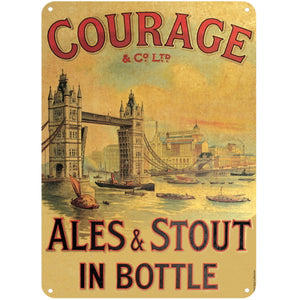 Courage Ales & Stout In Bottle A5 Steel Sign