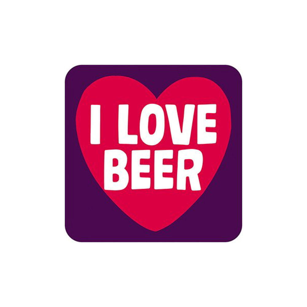 I Love Beer Single Coaster