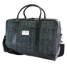 Load image into Gallery viewer, Harris Tweed Black & Grey Tartan Overnight Bag