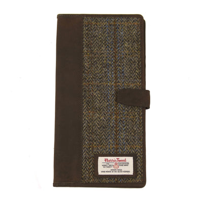 Travel Documents Holder with Harris Tweed Beige & Blue Carloway Tartan