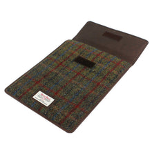 Load image into Gallery viewer, Harris Tweed Green & Red Tartan iPad Mini Sleeve