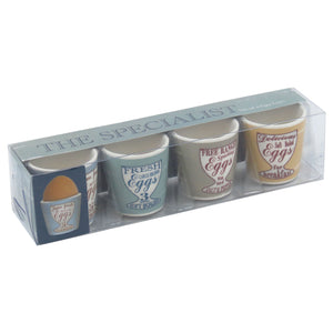Set Of 4 Fresh Eggs Ceramic Egg Cups