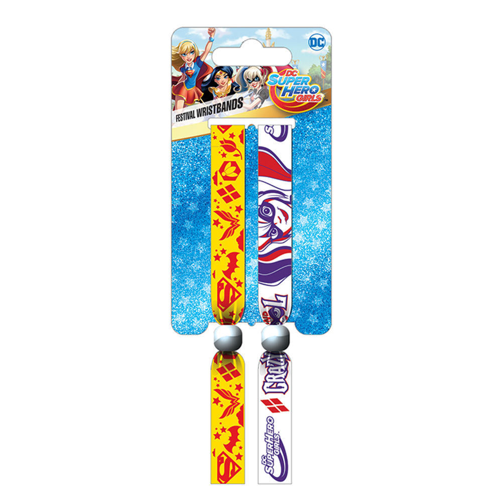 DC Super Hero Girls Crazy & Cool Pack of 2 Festival Wrist Bands