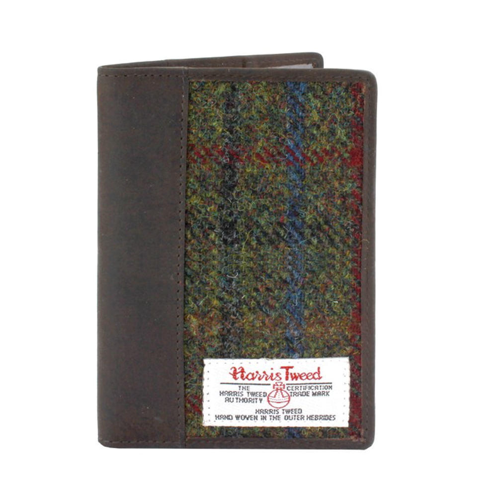 Passport Holder with Harris Tweed Green & Red Tartan
