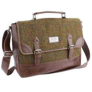 Harris Tweed Olive & Tan Tartan Briefcase