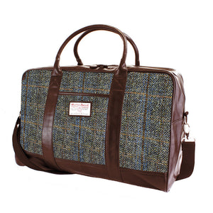 Harris Tweed Beige & Blue Carloway Tartan Overnight Bag