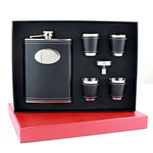Load image into Gallery viewer, Black Faux Leather Hip Flask With Funnel & 4 Shooters