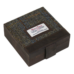 Harris Tweed Beige & Blue Carloway Tartan Trinket Box