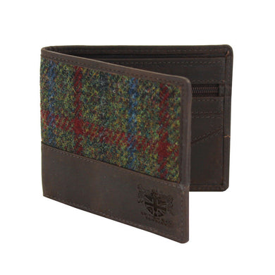 Harris Tweed Green & Red Tartan Leather Wallet