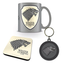 Load image into Gallery viewer, Game of Thrones Stark Mug Coaster & Keyring Set
