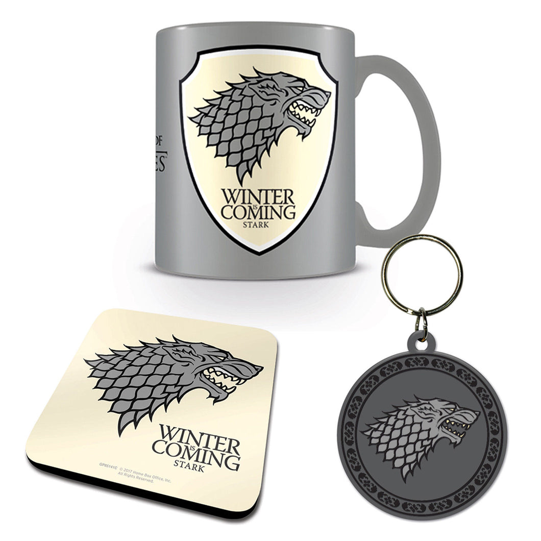 Game of Thrones Stark Mug Coaster & Keyring Set