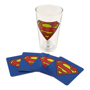 Superman Logo Glass & 4 Beer Mat Coasters