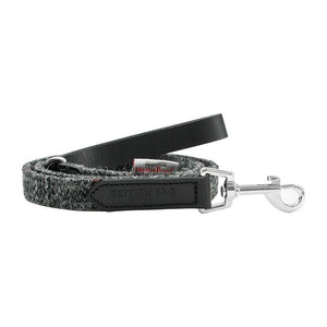 Black & Grey Harris Tweed Leather Dog Lead