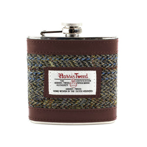 Harris Tweed Beige & Blue Carloway Tartan Hip Flask