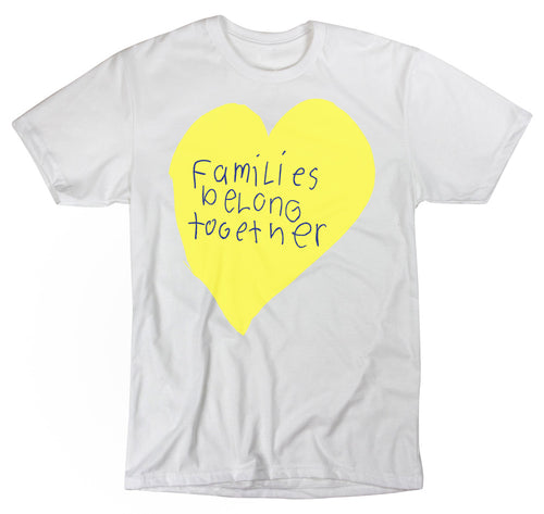 Paradisco Families Belong Together yellow love heart t-shirt