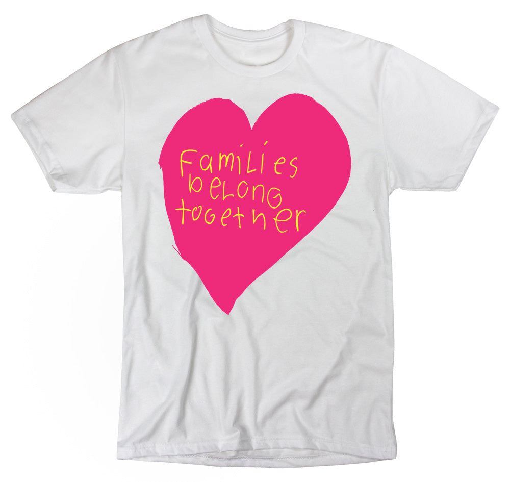 Paradisco Families Belong Together pink love heart t-shirt