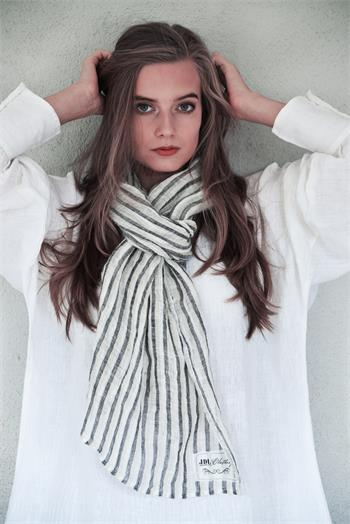 Scarf - Simple temptations - White/black/cream strid
