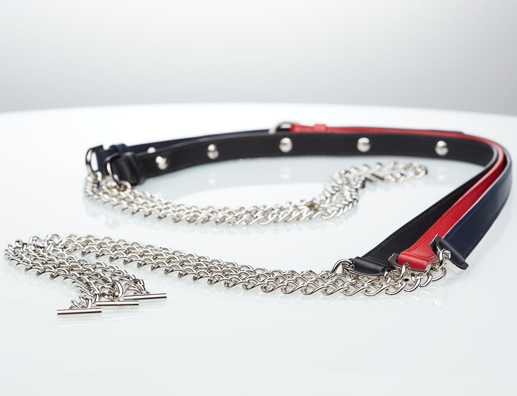 SIX Collection Leather and Chain Strap
