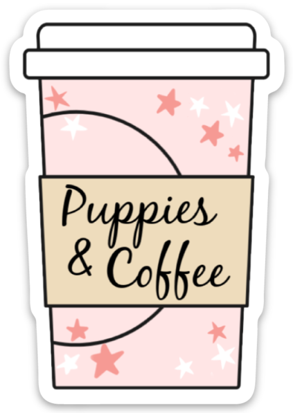 Puppies and Coffee Sticker