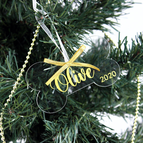 Personalized Acrylic Dog Bone Ornament