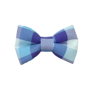 Blue and Purple Plaid Bow Tie
