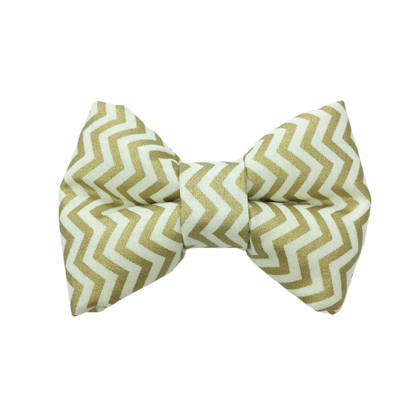Gold Chevron Bow Tie